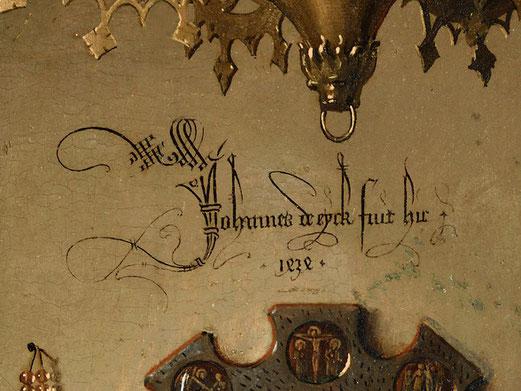 En écriture gothique : « Jan Van Eyck fut ici 1434 »