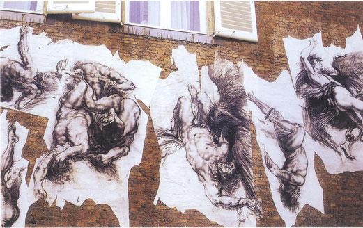Invention-Images-Face à la maison de Rubens, 1983, dessins, fusin et pierre noire sur papier.