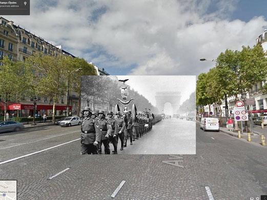 Photomontage numérique avec un défilé de soldats allemands sur les Champs Elysées en juin 1940.