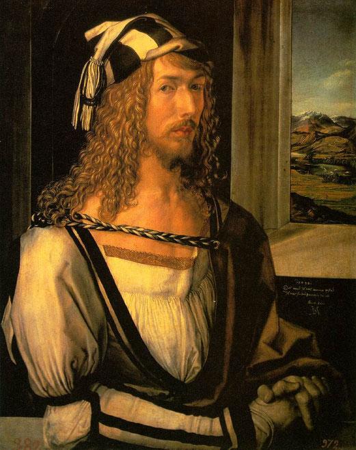 Autoportrait à 26 ans d'Albrecht Dürer, huile, 52 × 41 cm, 1498, musée du Prado, Madrid,
