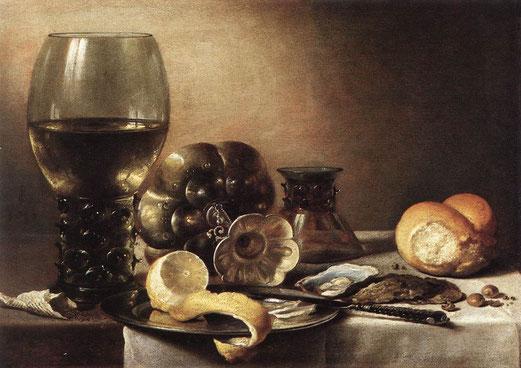 Pieter CLAESZ, Nature morte à la tourte, au citron et au pain,  huile sur planche de chêne, 38 × 53 cm, 1633, Musée Hessen de Kassel, Allemagne.
