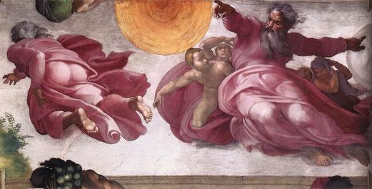 Michel-Ange, La création du soleil, de la lune, et des plantes, Genèse, Chapelle Sixtine, Rome.