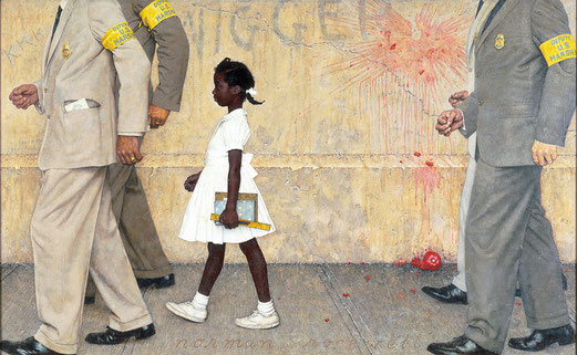 The Problem We All Live With,  Norman Rockwell, 1964, Huile sur toile, 91,4 × 147,3cm, Musée Norman Rockwell, Stockbridge (Massachusetts).