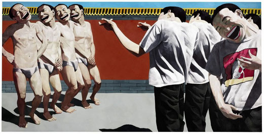 Yue Minjun, The Execution, 1995, huile sur toile, 150 x 300 cm.