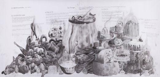 Gilles Barbier, La recette du Festin, Crayon et acrylique sur calque polyester, 114,6 cm x 331,4 cm,  2013, galerie Vallois.