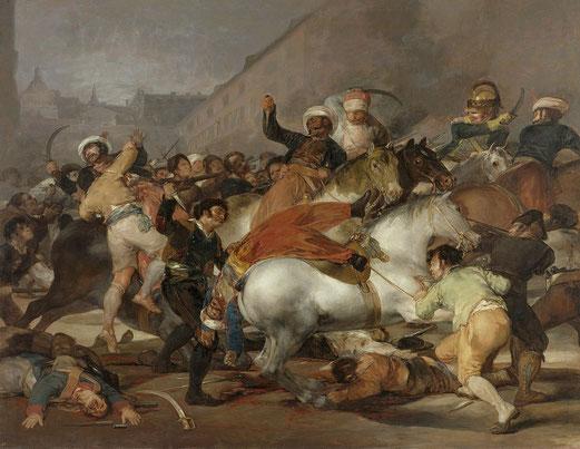 Dos de mayo, Francisco de Goya, 1814, Huile sur toile, 268,5 × 374,5 cm, Musée du Prado, Madrid (Espagne).