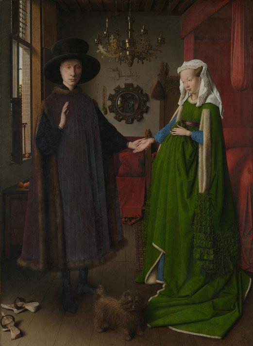 Jan van Eyck ,1434, Les Époux Arnolfini, huile sur panneau de chêne, 82.2 × 60 cm, National Gallery, Londres .