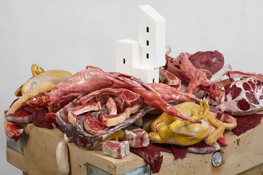 Gilles Barbier, Habiter la viande crue, 2013, technique mixte, galerie Vallois.