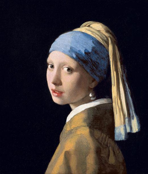 La Jeune Fille à la perle, Johannes Vermeer, huile sur toile, 44x39cm, 1665, Mauritshuis Museum, La Haye, Pays-Bas.