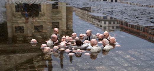Isaac Cordal: Políticos discutiendo el cambio climático  25 marzo 25Europe/Madrid 2014.