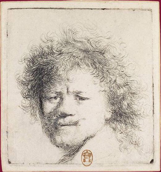 cm,Rembrandt aux cheveux hérissés, eau-forte,x , BnF.