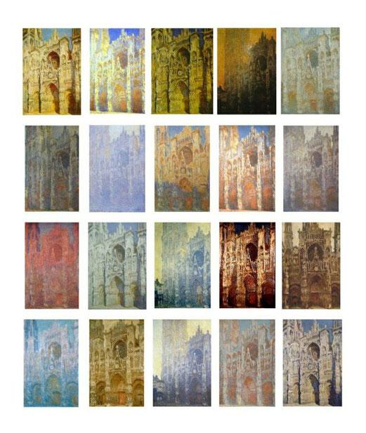 Série de la cathédrale de Rouen réalisée par Claude Monet durant plusieurs années. (vers 1892)