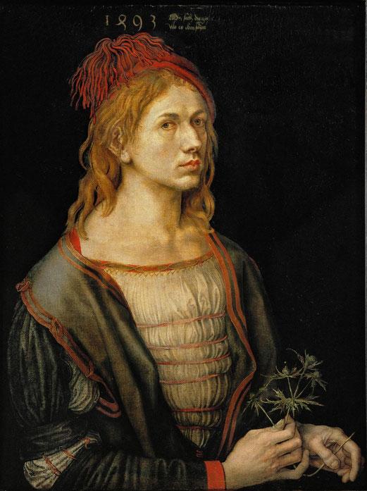 Albrecht Dürer, Portrait de l'artiste tenant un chardon, 1493, Peinture à l'huile, parchemin collé sur toile 56x44cm, Musée du Louvre.