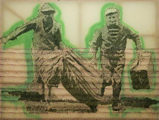 Sigmar POLKE, Flüchtende (Les fugitifs), 1992, Acrylique et résine sur tissu, 225 x 300 cm, Carré d'Art-Musée d'art contemporain de Nîmes.