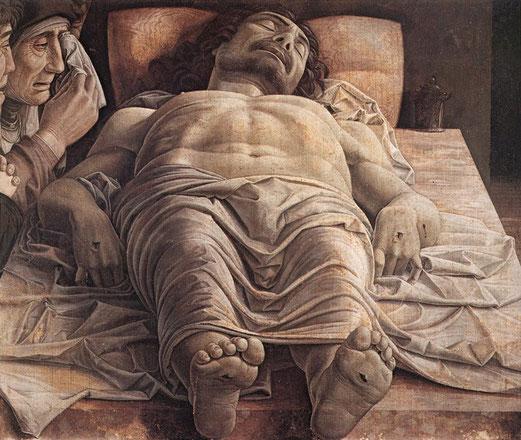 Lamentation sur le Christ mort, Andrea Mantegna, tempera à la colle sur toile, 68x81cm, 1480, pinacothèque de Brera, Milan (Italie).