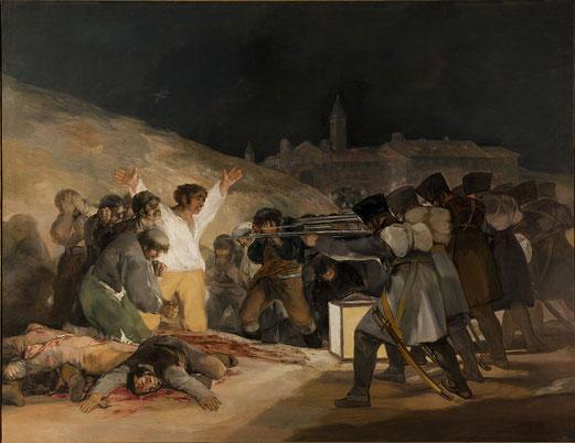Tres de mayo, Francisco de Goya, 1814, Huile sur toile, 268 × 3471 cm, Musée du Prado, Madrid (Espagne).