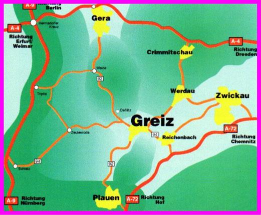Wie gelangt man nach Greiz?