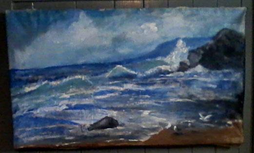 nicht mehr erhältlich verkauft -  tag am meer, original creativblick märlihus malerei