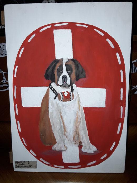 Barry der Schweizer Rettungshund auf einem Apothekerkästli ein unikat aus dem Märlihus Atelier SchnigSchnag