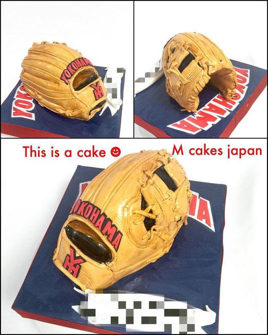 野球グローブ形ケーキ✨ #野球 #グローブ #スポーツ #野球グローブ #サプライズケーキ #横浜 #baseball #glove #baseballglove #baseballglovecake #baseballcake #fondantcake #sports
