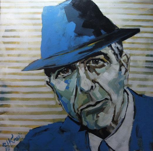 "Nr. 24 / HANS KRAUS / ""Leonard C."", Acryl auf Leinwand, 90x90cm, (verkauft)"