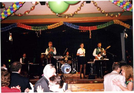 Showtime, Sylvester 1996 in Walkenried, (v.l.) Torsten Derlin, Bernd Nawothnig, Marc Wallert,             Kathrin Plesse, Olaf Lesemann