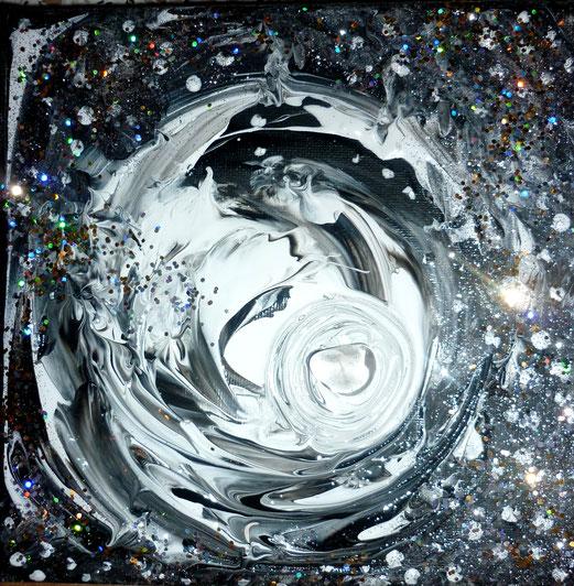 das Licht erhellt die Nacht 15x15cm Acryl , Bergkristall