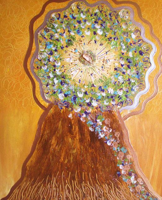Seelenbild für eine andere Freundin 50x60cm Acryl meditativ gemaltl