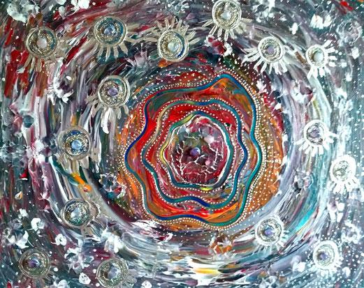 "50x60cm Acryl + Bergkristalle, Rosenquarze und Amethyste, "" Seelenbild """