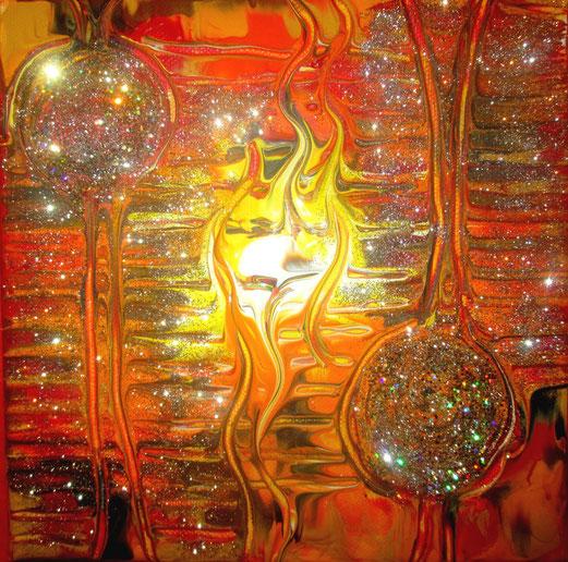 Flamme der Kreativität und Lebensfreude , 20x20cm Acryl