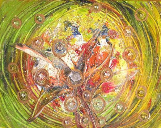 Schöpferkraft im eigenen kl. Universum 24x30cm , Acryl , Berkristallspitze