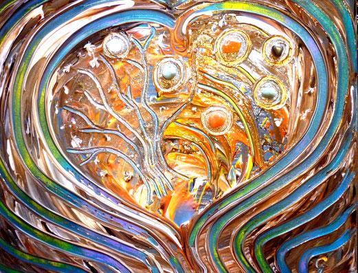 Seelenbild Acryl, 40x50cm  verschiedene Kristalle