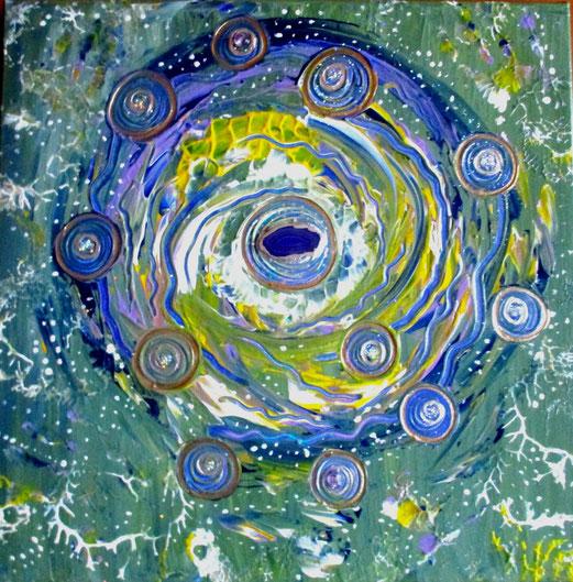 erschaffe deine eigene Welt , 50x50cm Acryl , Achat + Kristalle