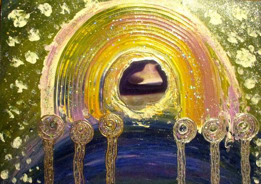 Seelenbild 50x70cm Acryl + Achatscheibe