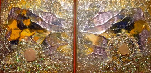 auf den Flügeln der Liebe , je 15x15cm , Acryl, Rosenquarze + Bergkristalle