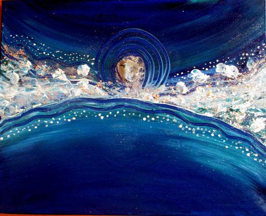 wenn sich Himmel und Erde berühren 40x50cm Acryl und Bergkristall