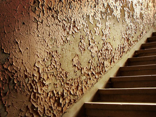 Décoration vintage - Mur ocre terracotta - Peinture écaillée