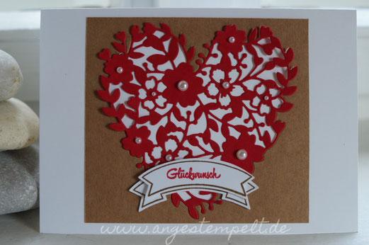 Glückwunschkarte zur Hochzeit mit sandfarbenem Karton - Patricia Stich 2016
