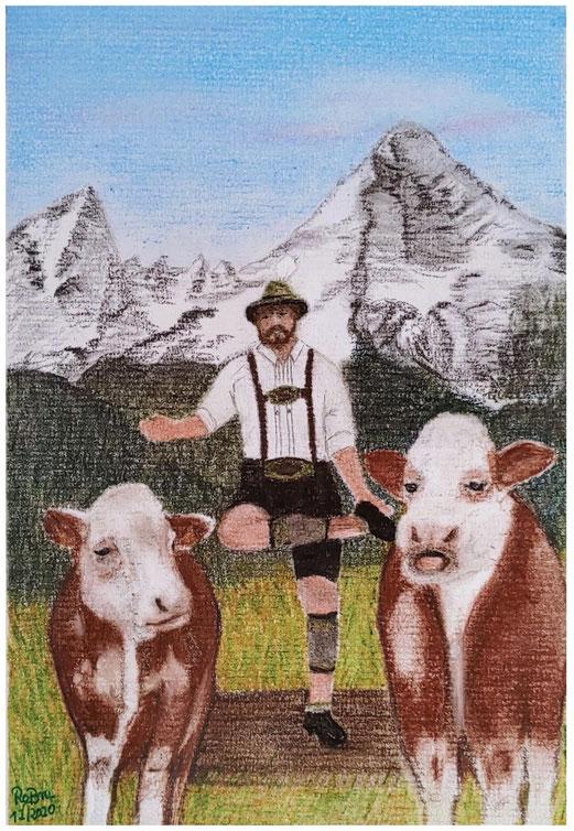 Geburtstagskarte, gemalt in Pastell, das Kuhschuhplattlglückwunschkonzert