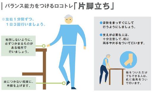片脚立ち (ロコモパンフレット2013より引用)
