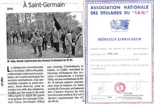 Lucien Saby, 90 ans en avril 2014, dernier représentant des anciens combattants 39-45 en Ardèche