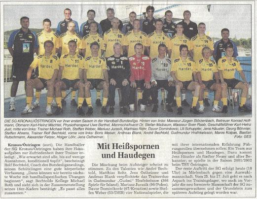 Die SG Kronau/Östringen in der Handball-Bundesliga - ein BNN-Bericht vom Juli 2003