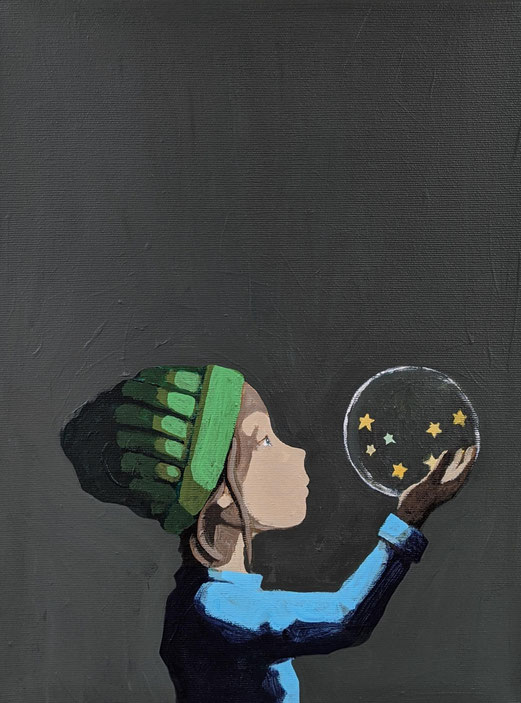 shimmering stars - Acryl auf Leinwand, 40x30cm, 2020 | verkauft