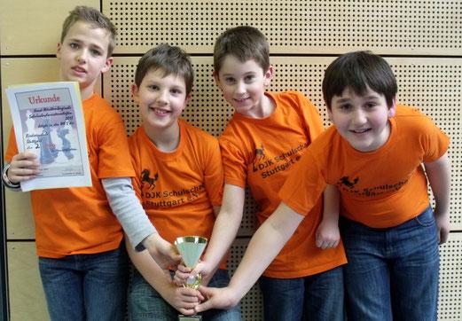 Strahlende Sieger: Jonas, Dario, Alexander und Tamer