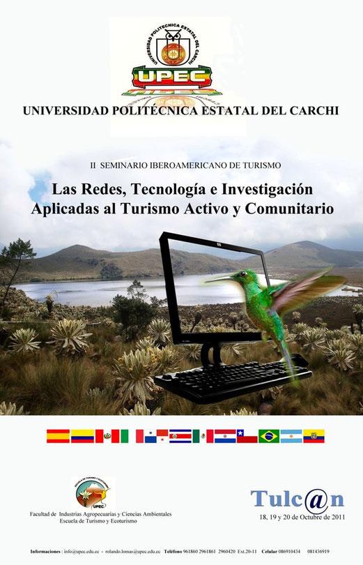 afiche del II Seminario Iberoamericano de Turismo en Tulcán Ecuador.