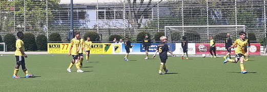 TuS F1 im Heimspiel gegen den FC Karnap. Foto: kavo. - Oben: TuS Bambini 1 gegen ESC Preußen. Fotos: tisa.