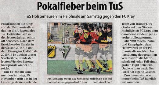 Süd-Anzeiger, 16.11.2016 (oben), WAZ, 14.11.2016, zum Spiel der Ersten Mannschaft (unten), re. Daniel Valaev (F.: ings)