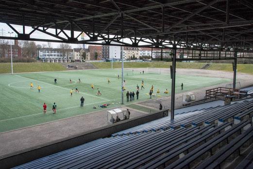 TuS D1-Jugend in der Schalker Glückauf-Kampfbahn. - Fotos: r.f.