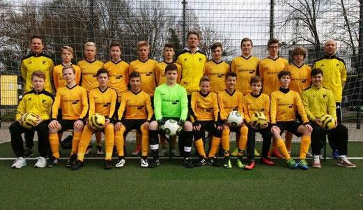 TuS C1-Jugend mit neuem, aktuellen Mannschaftsfoto. - Foto mste.