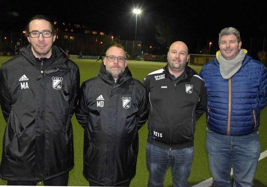 Neues Trainerteam der Ersten: v.l. Mark Asthoff, Mark Dost, Peter Zorz mit dem neuen Sportlichen Leiter Mike Lohmann.